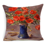 Vintage Style Oil Painting Flowers Printed Cushion Cover