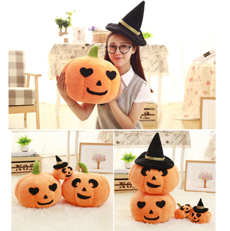 Cute Soft Plush Stuffed Pumpkin Pillow 3D Small Cushion Home Halloween Decor