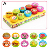 10pcs/Set Children Toy Stamps Cartoon Animals Fruits Traffic Smile Kids Seal