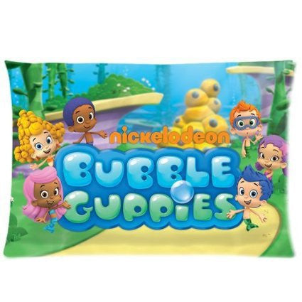 LUQI Zippered Pillow Protector Pillowcase,Queen Size 20x30 inches, Bubble Guppies Pillow Cover
