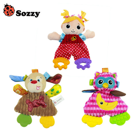 Sozzy Soft Baby Handkerchief Toy Teether Crinkle Sound Rattle Plush Toy 0M Owl Girl Dog