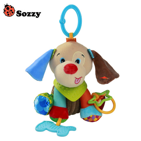Sozzy Baby Buddies Placate Activity Stuffed Plush Dog Teether Toy 20cm Multicolor Multifunction