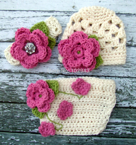 3Sets girl flower hat ,headband and shorts crochet newborn baby hat baby girl