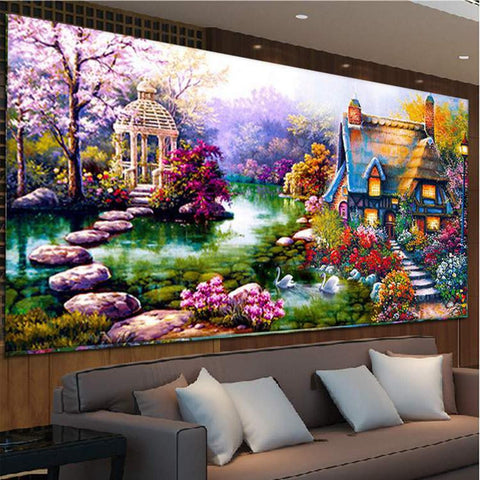 DIY 5D Diamond mosaic Landscapes Garden lodge Painting Cross Stitch Kits Diamonds