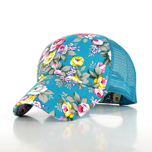 2020 Spring Floral Women Baseball Caps Fashion Mesh Breathable Sunmmer Flower Cap For Women