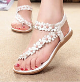 2016 Bohemia Women Sandals Floral Strap Flat Heel Beach Shoes Woman Causal Flip - Shopy Max