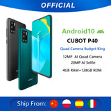Cubot P40 Rear Quad Camera 20MP Selfie Smartphone NFC 4GB+128GB 6.2 Inch 4200mAh