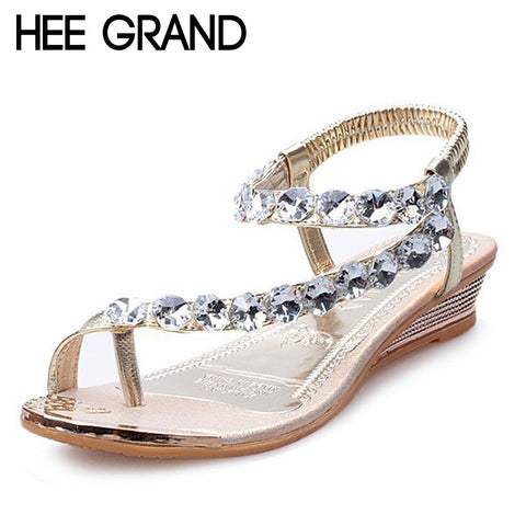 2016 Summer Style Sandals Bling Rhinestone Flats Women Platform Wedges