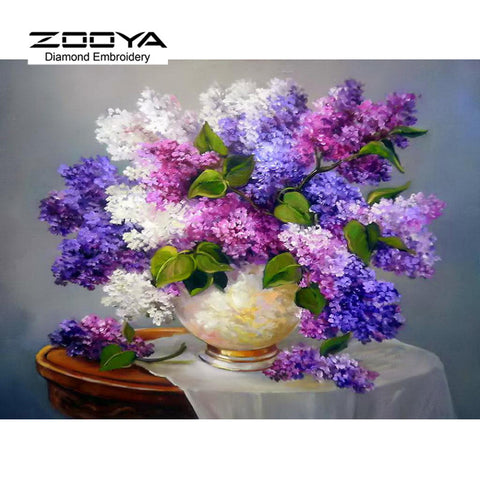 DIY Diamond Painting Needlework Square Full Diamond Embroidery Purple Lilac Flower