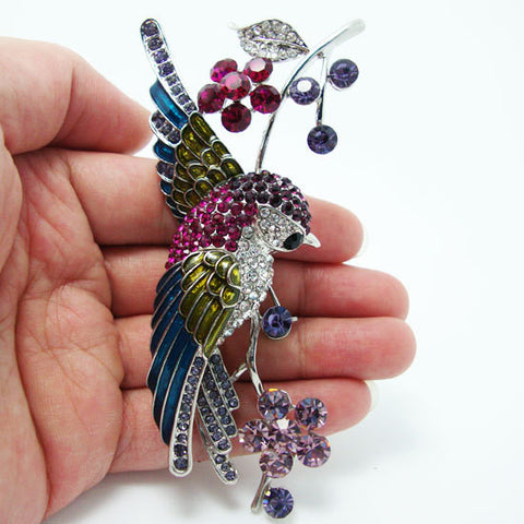 "Vintage 4.21"" Swallow Bird Flower Brooch Pin Rhinestone Crystal Multi Enamel"
