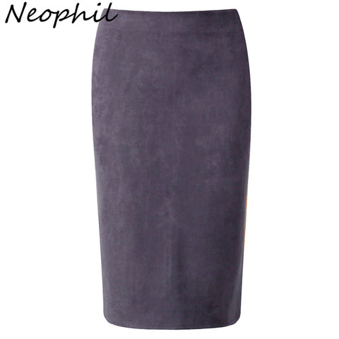 Neophil 2016 Winter Gray Army Green Women Suede Midi Pencil Skirts Causal High Waist