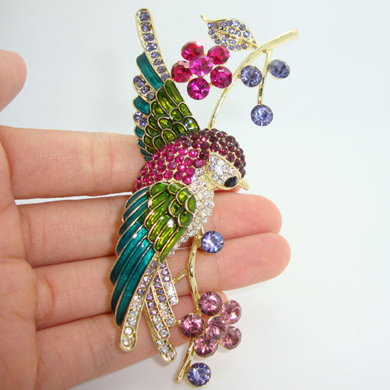 "Details about  4.21"" Colorful Swallow Bird Flower Brooch Pin Rhinestone Crystal Multi Enamel"
