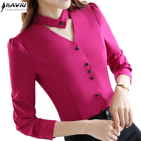 2017 New slim formal long sleeve women shirt OL autumn Elegant V-neck lace Patchwork