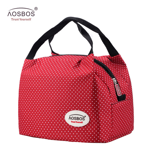 Aosbos Fashion Portable Insulated Canvas lunch Bag Thermal Food Picnic Lunch