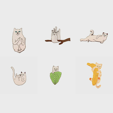 Free Shipping Cartoon Cute White Cat Enamel Brooches Pins Badge Clothes Decoration fashion