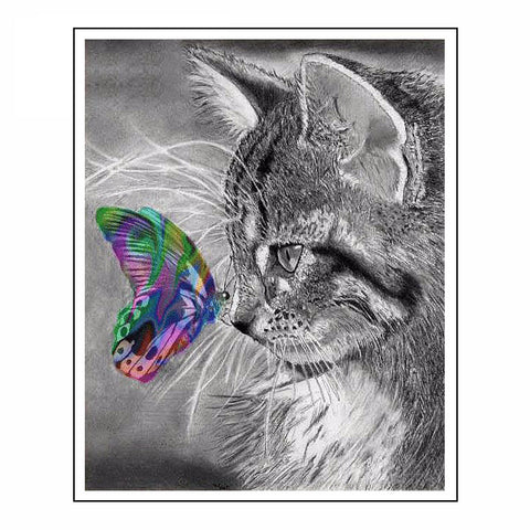 5D Diy Diamond Painting Cat Full Square 3D Diamond Embroidery Cross Stitch Gray Cat