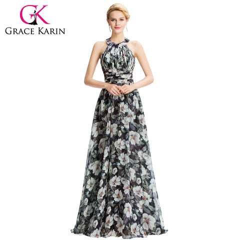 2016 New Halter Floral Print Evening Dresses Flower Pattern Chiffon Floor