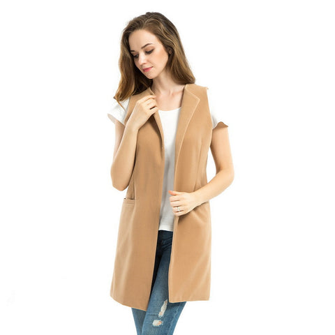 2016 New Women Spring Wool Blend Vest Waistcoat Ladies Winter Long Camel Vest Sleeveless