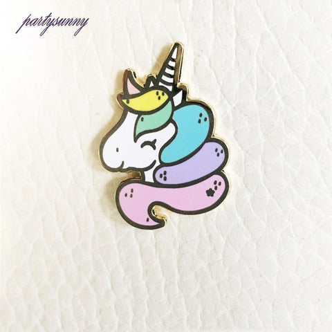 PF Childlike Cartoon Brooch Charm Unicorn Badges Enamel Pin Clothes Dress Bag