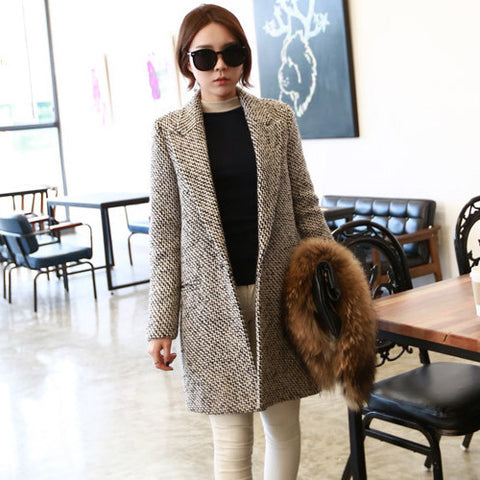 2016 luxury wool coat winter women high quality fashion overcoat long blends over coats