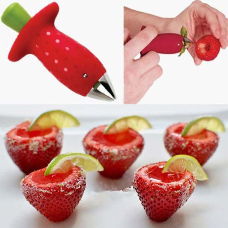 1pc Red Strawberry Tomatoes Stem Huller Remover Fruit Vegetable Creative essories - Shopy Max
