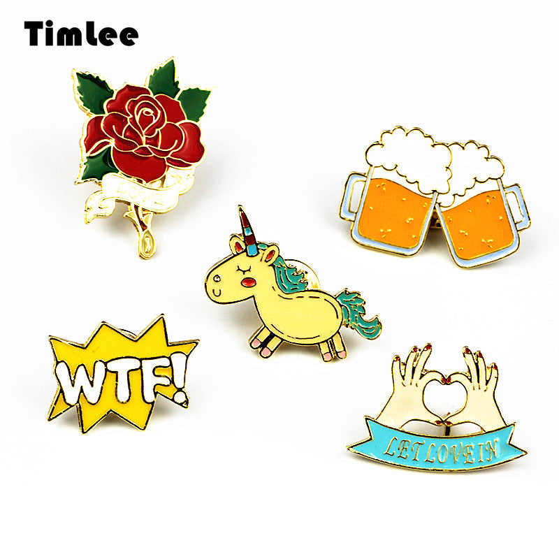 Timlee X223 Cute Animals Unicorn Enamel Pin Love Hand Beer WTF Rose Brooch Pins Button Pins Fashion Jewelry Wholesale