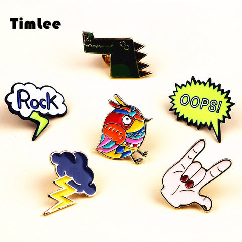 Timlee X246 Cartoon Rock Hand Enamel Pins Colorful Bird Lightning Cloud