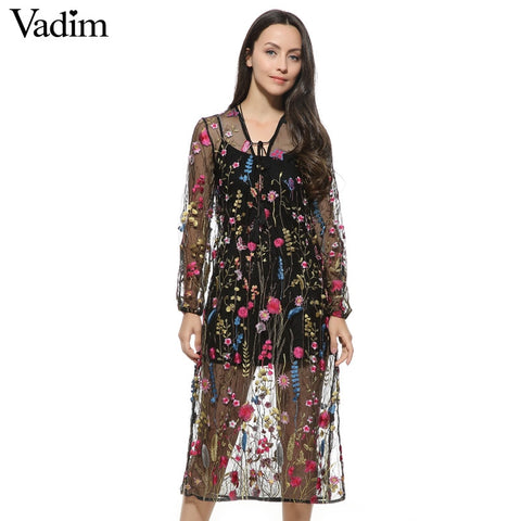 Women sexy floral embroidery mesh maxi dress transparent
