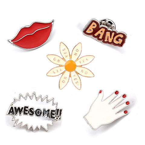 2017 personality cartoon BANG AWESOME !! Sexy Red Lip Hand Cute Enamel Pin Set