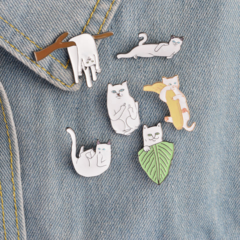 6pcs/set Creative Cartoon Metal Cute Cat Badge Enamel Pin For Girls/Boys' Gifts