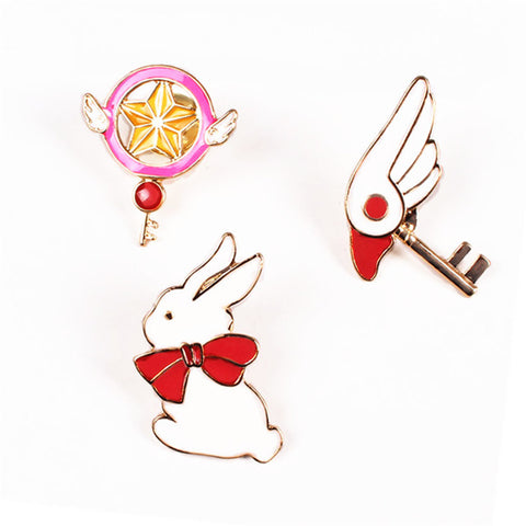 2017 Enamel Pin Set Cute Cartoon Card Captor Sakura Bird Head Rabit Stick Of Stars