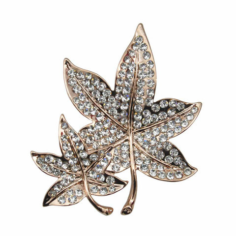 Enamel Pins Badge Crystal Rhinestone Leaves Brooch Pin Plant Lapel Women Cute Tie Collar Chapas