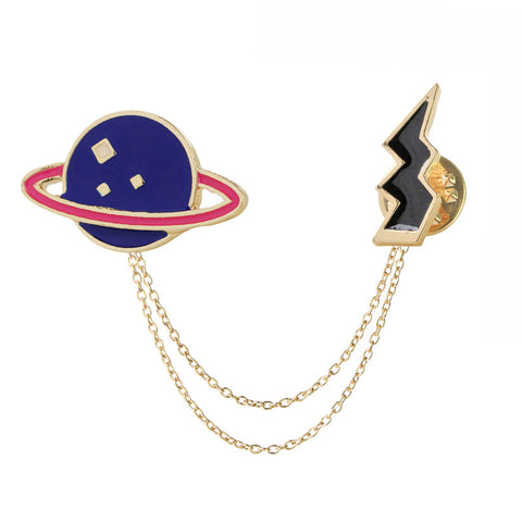 galaxy and lighting enamel pins and brooches gold color fancy metal galactic system bolt