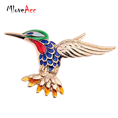 MloveAcc Fashion Jewelry Enamel Hummingbird Brooch Lapel Pin Men Brooch Broche Stereoscopic