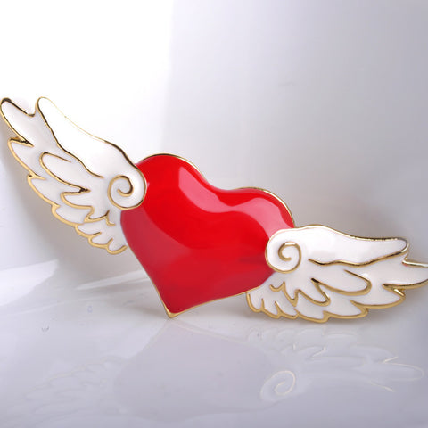 Blucome Card Captor Sakura Heart Wing Brooches For Women Esmalte Enamel Pins Love