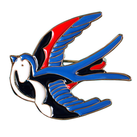 Cute Blue Bird Enamel Swallow Brooches Hijab Pins Up Metal Corsage Designer Wedding Shoulder
