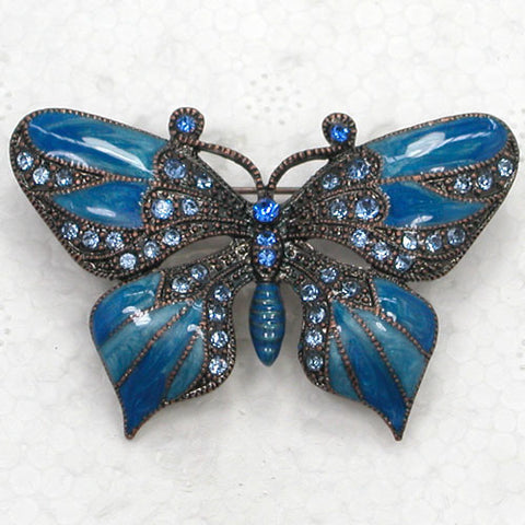 1pcs Butterfly Brooch Blue Rhinestone Enamel Pin brooches C582 B3
