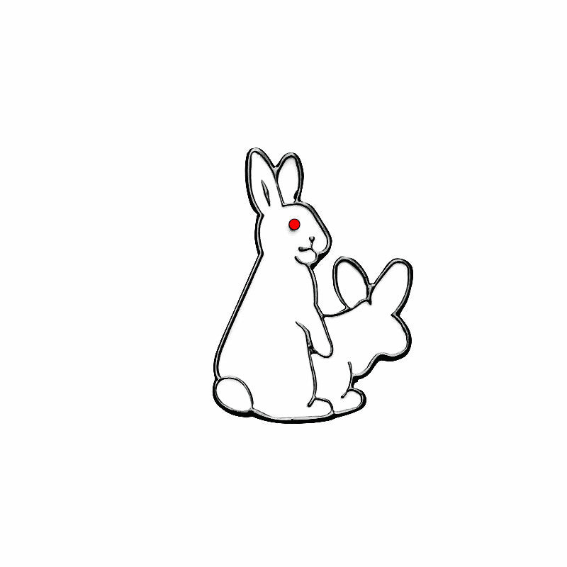 Hard Enamel Pins White Evil Rabbits Brooch Pin Kawaii Animal Broches  Jewelry Gift For Child Jacket Badge