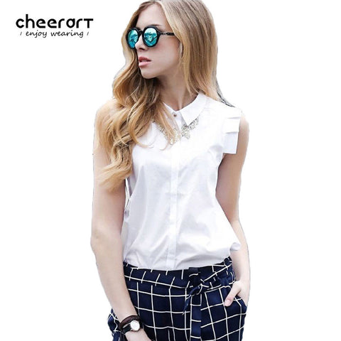 100% Cotton Sleeveless Women Blouse Summer Style Shirt Women White Blouse Female