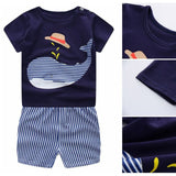 Cartoon Print Cloth Sets Summer Baby Boys Girls T Shirts + Casual Striped Pants Suit 2PCs Hot