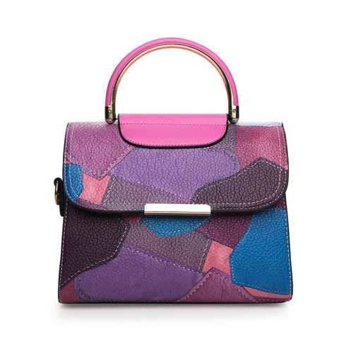 2017 New Style Panelled PU Crossbody Bag Patchwork Craft Totes Fashion Sequined Candy Color