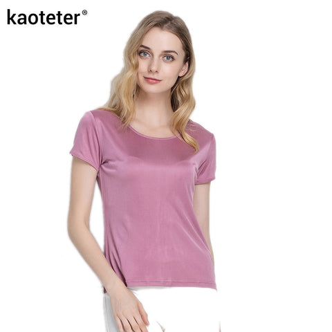 100% Pure Silk Women's T-Shirts Femme Tops Tees Shirt Women Casual Solid Candy Color