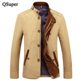 QSuper Fashion Jackets Coats Men Thin Slim Fit Mandarin Collar Zipper