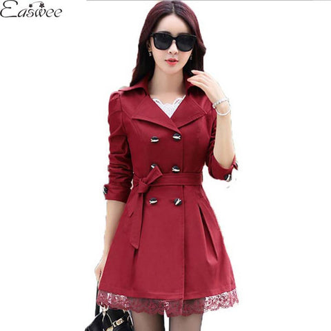 1PC 2016 Trench Coat For Women Spring Coat Double Breasted Lace Casaco Feminino