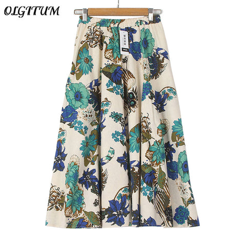 2017 Summer Casual Long Floral Print Women Cotton Linen Skirts QW060