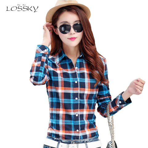 2017 Women Cotton Long-Sleeve Plaid Shirt Female Slim Outerwear Plus Size Autumn Blouse