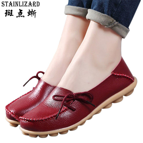 2017 New PU Leather Women Flats Moccasins Loafers Ladies Shoes Wild