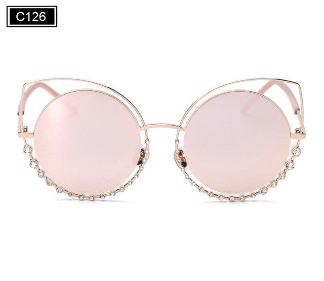 ROYAL GIRL NEW Brand Cat Eye Sunglasses Women Vintage Metal Frame With Inlaid Diamonds Sun Glasses Gafas De Sol Oculos SS920