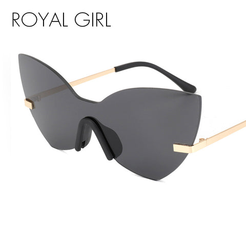 ROYAL GIRL New Rimless Cat Eye Women Sunglasses Brand Designer Retro Oversized Frame For Ladies ss513