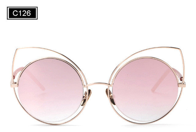 ROYAL GIRL Cat Eye Sunglasses Women Vintage Fashion Mirrored Sun Glasses Unique Ladies Oculos ss717